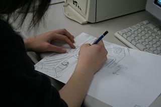 こちらはCG科。下書きは手描きで。